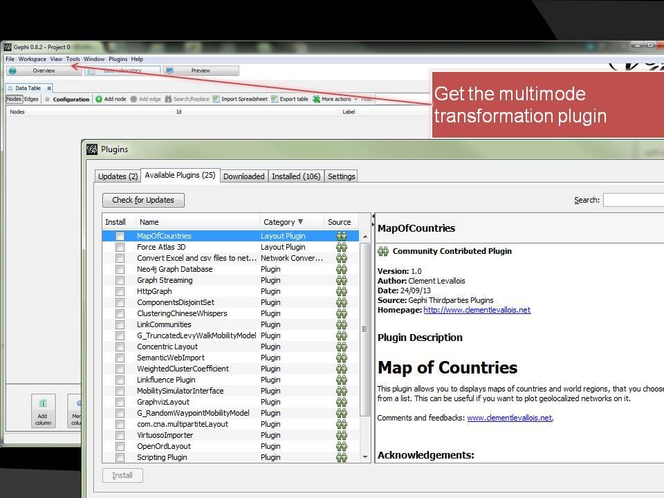 Image of Gephi plugin interface