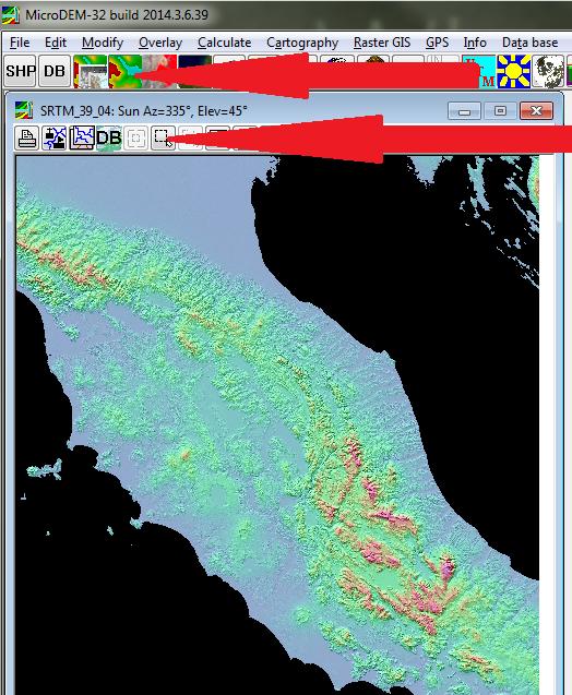MicroDEM: open image, crop image.