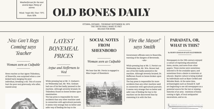 Old Bones Daily – HeritageJam 2017Entry
